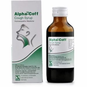 Alpha Coff Cough Syrup 100ml best homeopathic medicine Helps in Bronchitis Wheezing Dry Cough with vomiting breathless Schwabe
