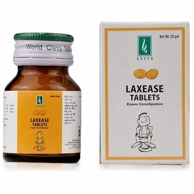Laxease Tablets 25gm best homeopathic medicine for difficult passage of Hard Stools Stomach Colic Gas laxative Adven