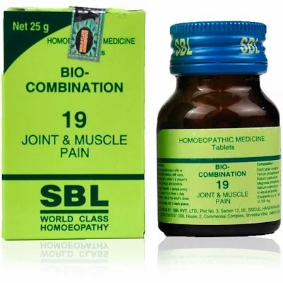 No.19 Bio Combination 25gm best homeopathic medicine for joint muscle pain cramps sciatica stiff neck lumbago SBL