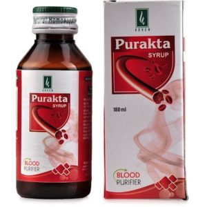 Purakta Syrup 180ml homeopathic medicine for purify blood reduces acne pimples boils carbuncles and skin disorders Adven