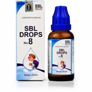 SBL No.8 Allergic Rhinitis Drops 30ml best homeopathic medicine for Relieve complaints of Sneezing watering eyes Obstructed nose headache