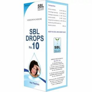 SBL No10 Hot Flashes Drops 30ml best homeopathic medicine Reduces Palpitations Sweating Menopausal anxiety restlessness