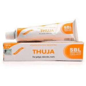 Thuja Ointment 25gm best homeopathic medicine for warts polypus corns brown spots eruptions SBL